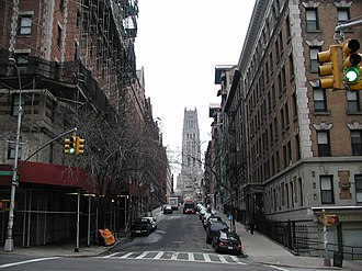 Morningside Heights, Manhattan - West 121st Street seen from Amsterdam Avenue; Riverside Church is in the background