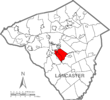 Map of Lancaster County, Pennsylvania highlighting West Lampeter Township