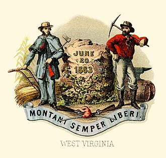 Flag of West Virginia - An 1876 rendering of West Virginia's coat of arms, based upon the state seal.