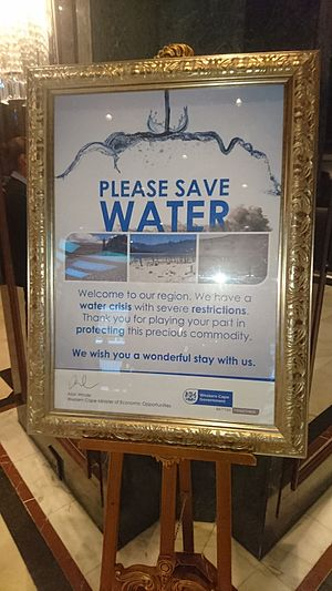 2015-present Cape Town drought - A photograph of the poster issued by the Western Cape government calling for people to conserve water due to the 2017 water shortage.