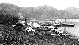 Akutan, Alaska - Whaling station along the harbor at Akutan ca. 1915