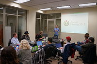 Wikimedia DC President James Hare speaks at the annual meeting