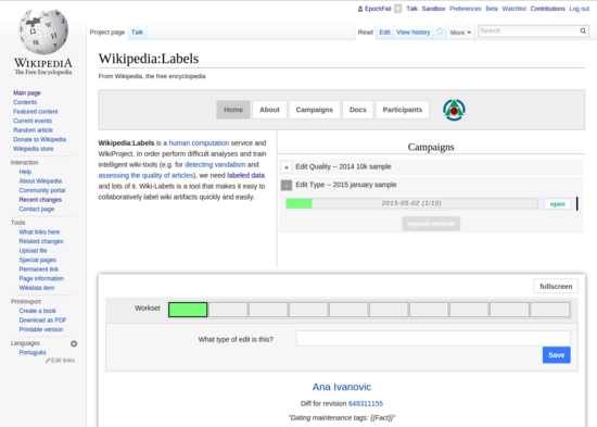 A screenshot of the Wiki labels interface integrated into en:WP:Labels.