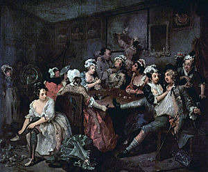 The Rake's Progress - Hogarth's third painting, showing Tom experiencing a brothel in London