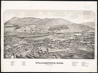 Williamstown, Massachusetts - Print of Williamstown from the 1880s by L.R. Burleigh with listing of landmarks