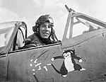 "Wing Commander Ian ""Widge"" Gleed, leader of No. 244 Wing, in his Supermarine Spitfire Mk VB at an airfield in Tunisia, April 1943. Days later he was shot down and killed by Messerschmitt Bf 109s over Cape Bon. CM5005.jpg"
