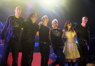Within Temptation - The band longest line-up, as pictured in 2007: Jeroen van Veen, Stephen van Haestregt, Ruud Jolie, Martijn Spierenburg, Sharon den Adel, Robert Westerholt.