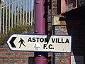 Witton Station - walking direction sign - Aston Villa FC (7951046216).jpg