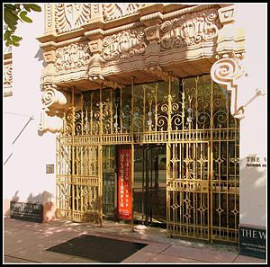Wolfsonian-FIU - Entry to The Wolfsonian-FIU from Washington Avenue. The carved sandstone frieze above the entrance is typical of Spanish Renaissance and Baroque-revival architecture.