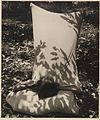 Woman in sleeping bag from Camping trips on Culburra Beach by Max Dupain and Olive Cotton (12825265455).jpg