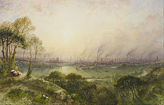 Manchester from Kersal Moor, with rustic figures and goats