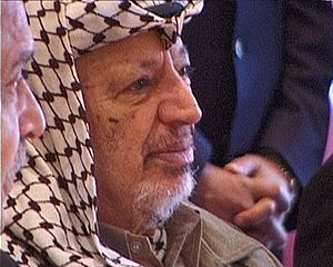 Yasser Arafat on a visit in Denmark. Here in U...