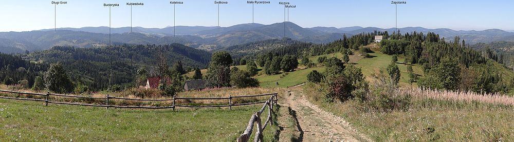 Panorama Beskidu Żywieckiego z Zapolanki