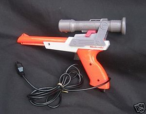 NES Zapper - The Deluxe Sighting Scope on an orange NES Zapper
