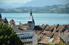 View over Lake Zug with the old town of Zug and the Zytturm