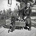 """""""Muha"""" - uporabljajo jo, da se pramena enakomerno zvijajo v vrv (štrik). U Bregu, Gorenji Novaki 1954.jpg"""
