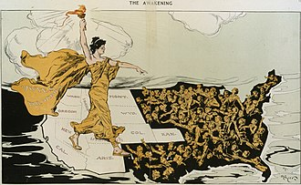 """The Awakening"" ""Votes for Women in 1915 Puck Magazine ""The Awakening"" ""Votes for Women in 1915 art detail, from- Awakening by Hy Mayer (cropped).jpg"