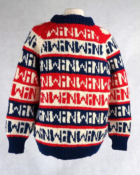 """File:""""WIN"""" patterned sweater.JPG"""