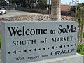"""Welcome to SoMa"" sign at Eighth and Harrison (February 2008).jpg"