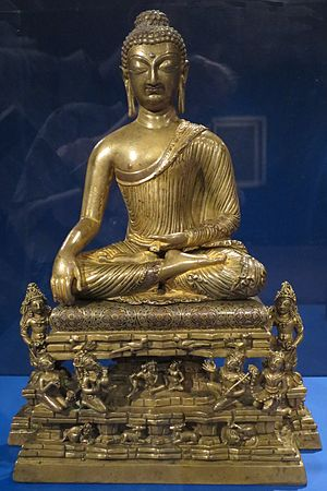 Buddhism in Kashmir - 'Buddha and Adorants on Mt. Meru' from Kashmir, c. 700, Norton Simon Museum