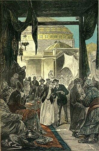 Léon Benett - Bazaar in Samarkand, illustration by Léon Benett for a Jules Verne novel