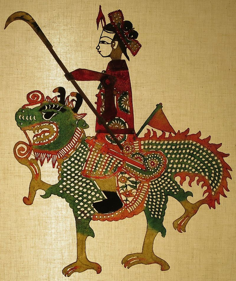'Female Warrior on Magical Animal', shadow puppet from Gaoxiong, Taiwan, Lin Liu-Hsin Museum.JPG