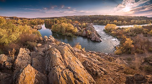 """Buzk's Gard National Nature Park, Ukraine. The place where the Southern Bug River forms a bend (called """"Integral"""")."""