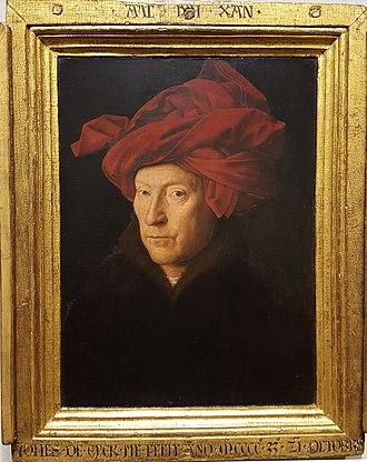 "Portrait of a Man (Self Portrait?) - ""AlC IXH XAN"" and ""JOHES DE EYCK ME FECIT ANO MCCCC.33. 21. OCTOBRIS"" inscribed in the frame"