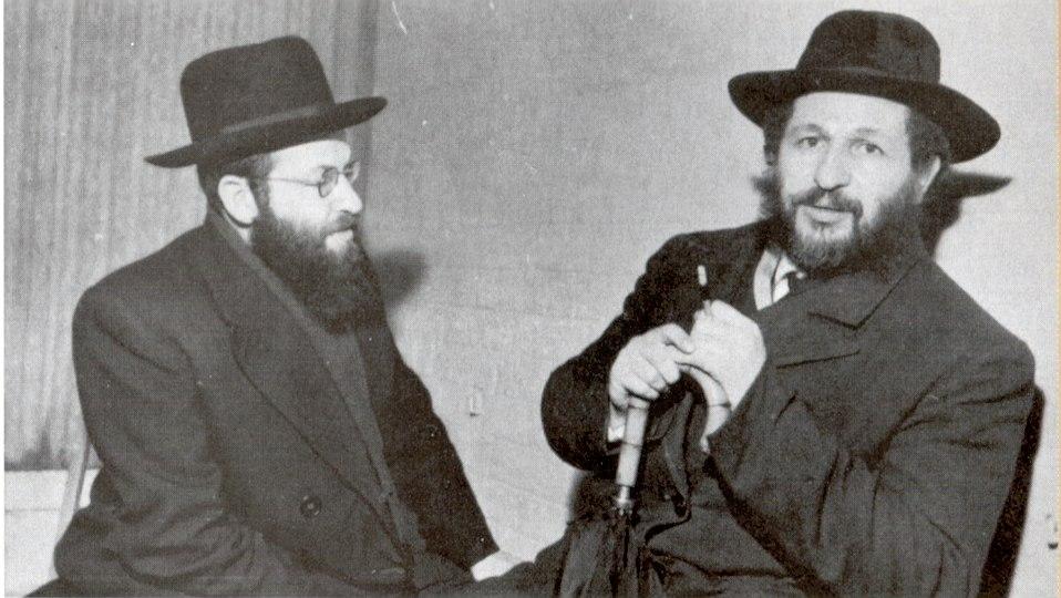 רבי יוסף דב סולובייצ'יק ראש ישיבת בריסק עם רבי משה שמואל שפירא