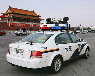 Ministry of Public Security (China) - A police car on Tiananmen Square.