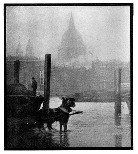 Malcolm Arbuthnot: View of a barge in the Thames, London with St Paul's Cathedral in the background, dated 1908