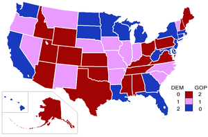 107th United States Congress - Senators' party membership by state