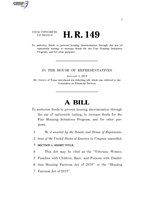 116th United States Congress H. R. 0000149 (1st session) - Housing Fairness Act of 2019.pdf