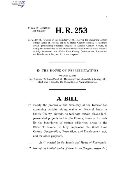 File:116th United States Congress H. R. 0000253 (1st session) - Nevada Lands Bill Technical Corrections Act of 2019.pdf