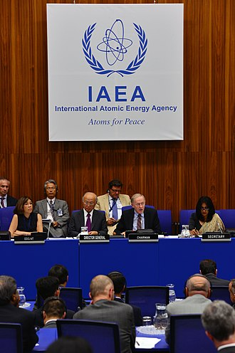 "Atoms for Peace - The ""Atoms for Peace"" slogan still in use above the panel at a 2013 IAEA meeting"