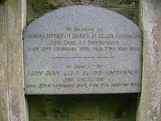 Earl of Dundonald - Memorial to the 13th earl at Dundonald Parish Church.