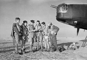 No. 150 Squadron RAF - No. 150 Squadron Wellington crew are briefed at Kairouan, Tunisia, for a raid on targets in the Salerno area.