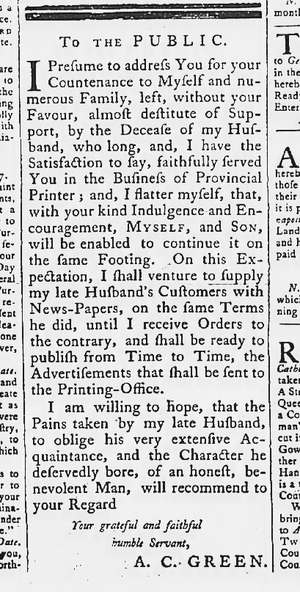 Anne Catherine Hoof Green - April 16, 1767 Maryland Gazette: announcement by Anne Green