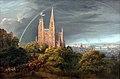 1815 Schinkel Mittelalterliche Stadt an einem Fluss anagoria.JPG