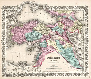 Short-lived Ottoman provinces - 1855 map of Anatolia, showing the location of the Eyalet of Kurdistan.