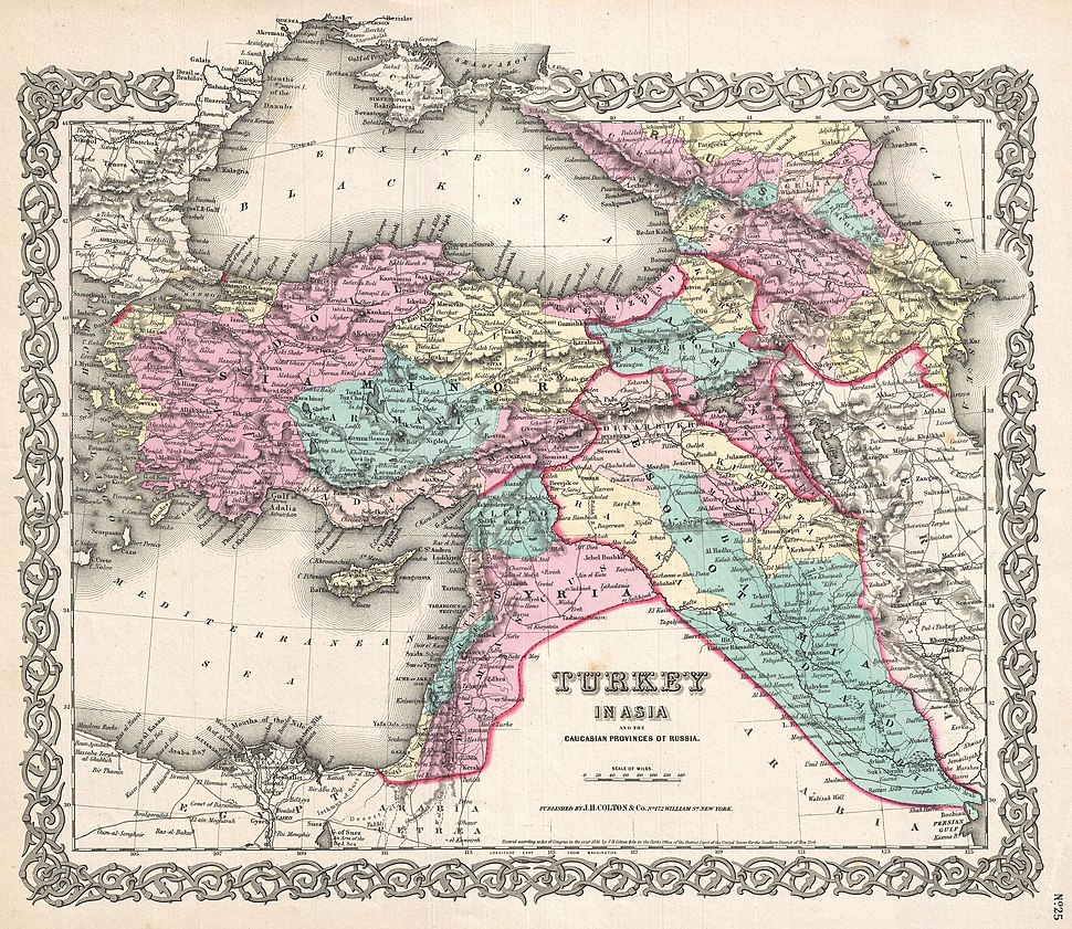 1855 Colton Map of Turkey, Iraq, and Syria - Geographicus - TurkeyIraq-colton-1855