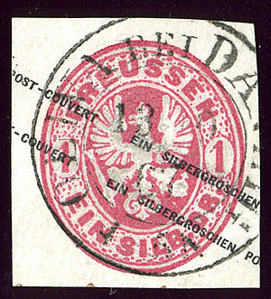 Oliwa - OLIVA bei DANZIG on a cover of Prussia in 1867
