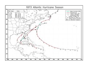 1873 Atlantic hurricane season - Image: 1873 Atlantic hurricane season map