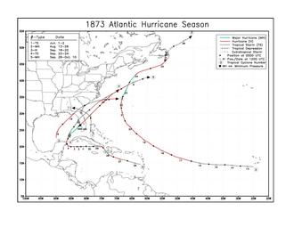 1873 Atlantic hurricane season - Image: 1873 Atlantic hurricane season map