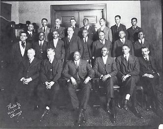 Pittsburgh Courier - Ira Lewis, editor and later president of the Pittsburgh Courier, back row, far left, at the Negro National League annual meeting held in Chicago on January 28, 1922.