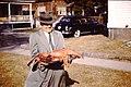 1950s man with lobster Gloucester Massachusetts USA 5337041146.jpg