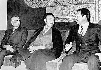 Houari Boumédiène - The 1975 Algiers Agreement was signed by (left to right) the Shah of Iran Mohammad Reza Pahlavi, Boumédiène and the Iraqi vice-president Saddam Hussein