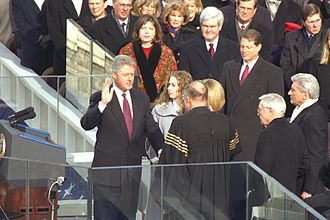 Second inauguration of Bill Clinton - Bill Clinton takes the oath of office for his second term.