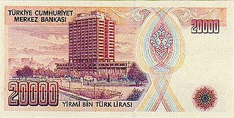 Central Bank of the Republic of Turkey - Reverse of the 20,000 Turkish lira banknote (1988-1997) featuring the main headquarters of the Central Bank of Turkey in Ankara.