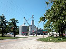 A grain elevator in Prairie du Rocher